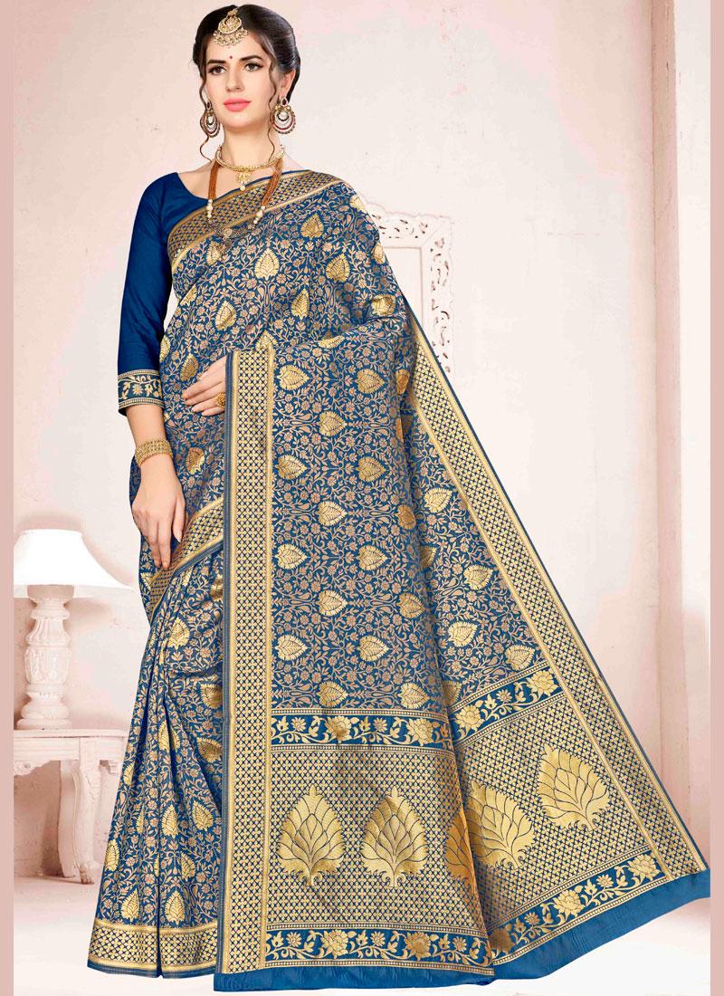 Art Silk Weaving Aqua Blue and Blue Traditional Saree