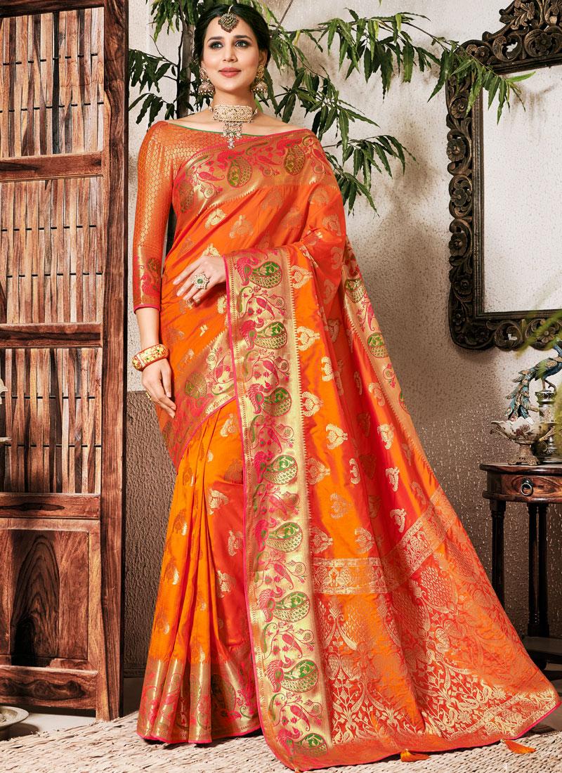 Art Silk Weaving Orange Classic Saree