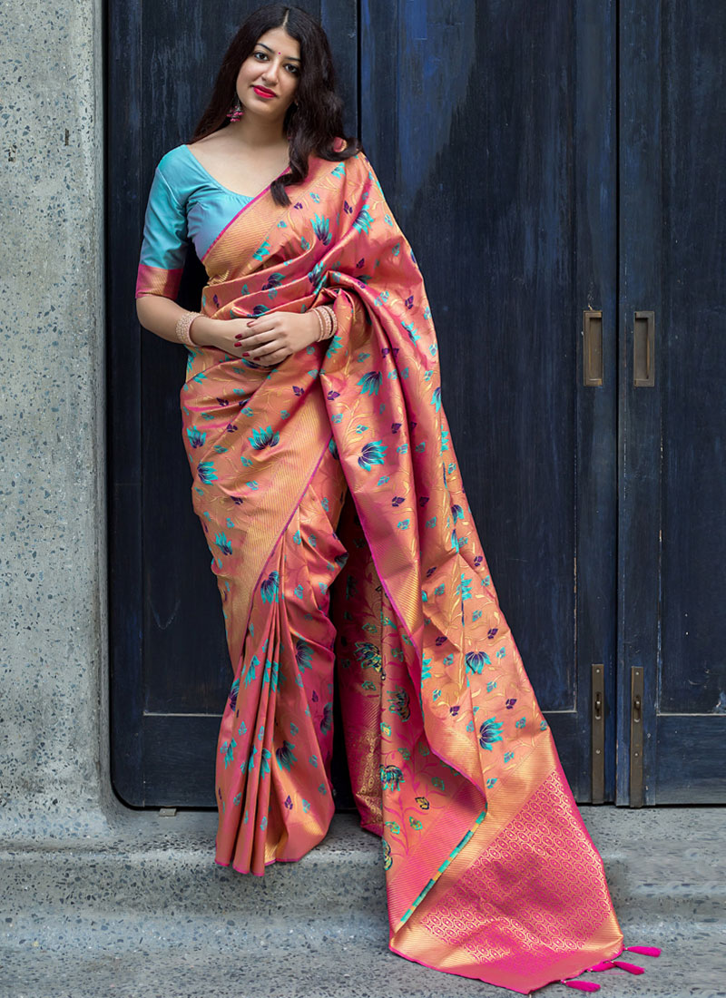 Art Silk Weaving Pink Traditional Designer Saree