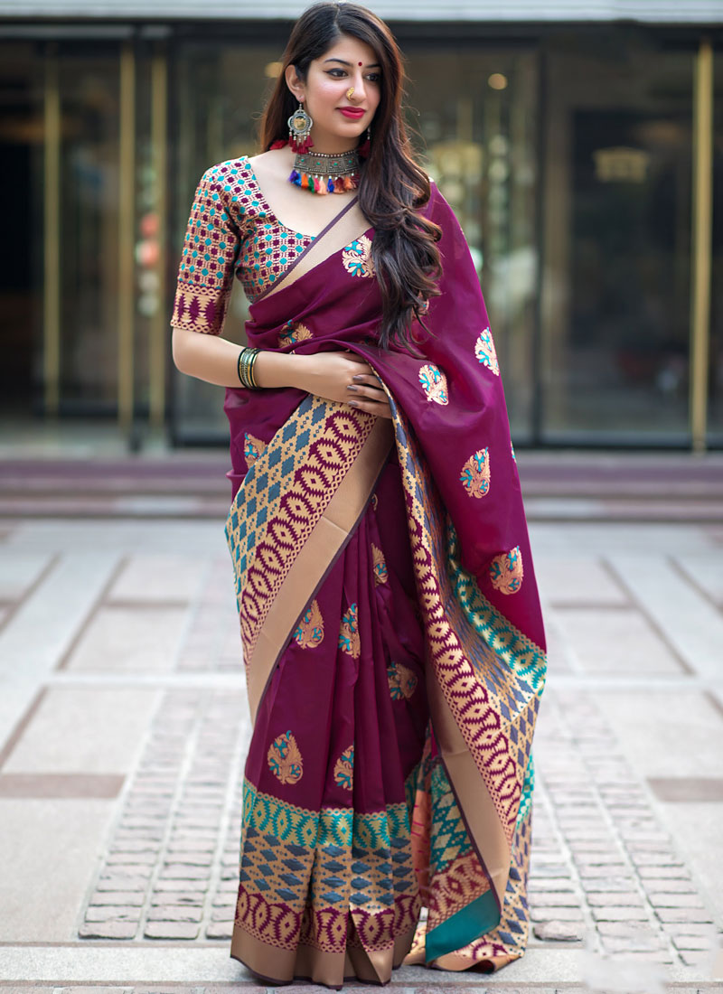 Art Silk Weaving Purple Designer Traditional Saree