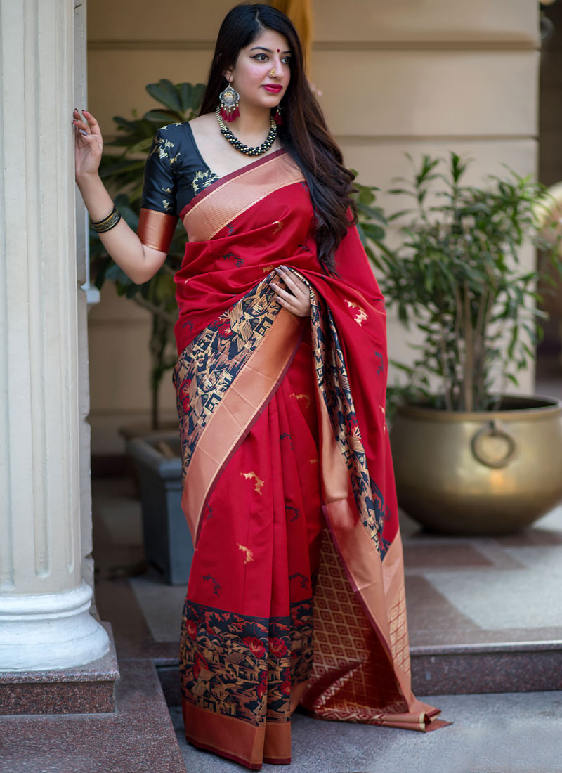 Art Silk Weaving Red Traditional Designer Saree