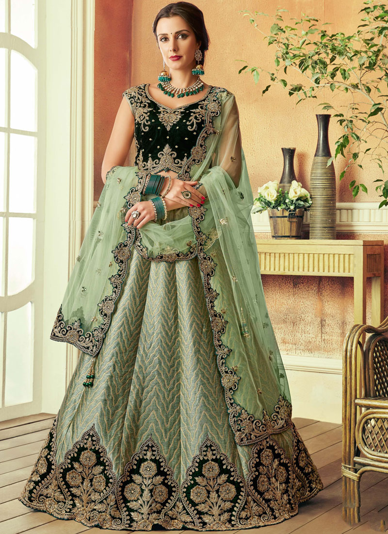 Art Silk Zari Green Lehenga Choli