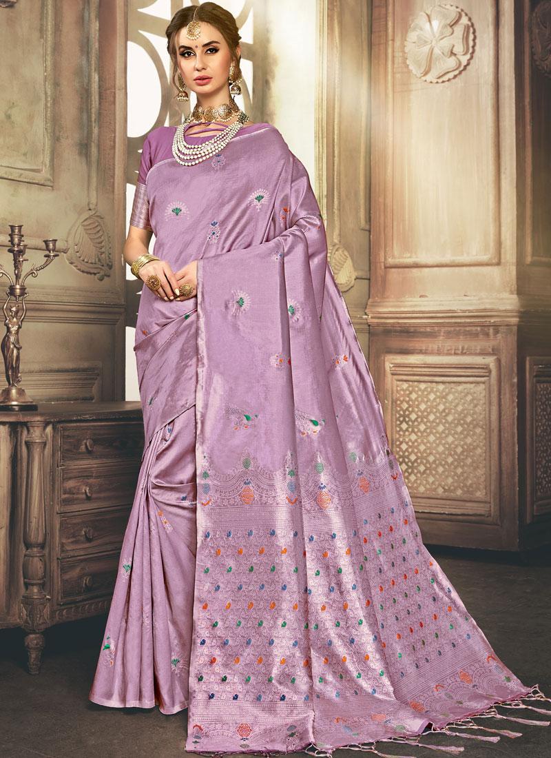 Aspiring Purple Ceremonial Traditional Designer Saree