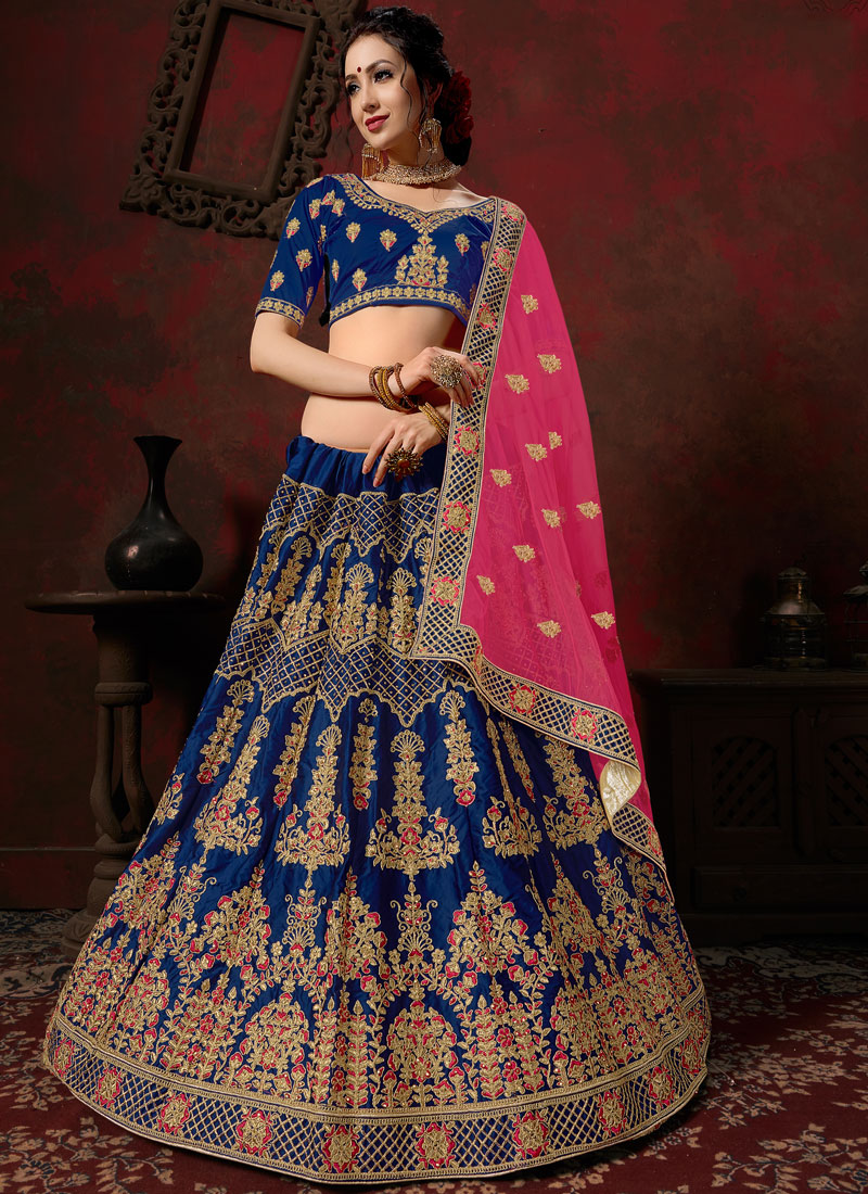 Aspiring Satin Blue Embroidered Designer Lehenga Choli