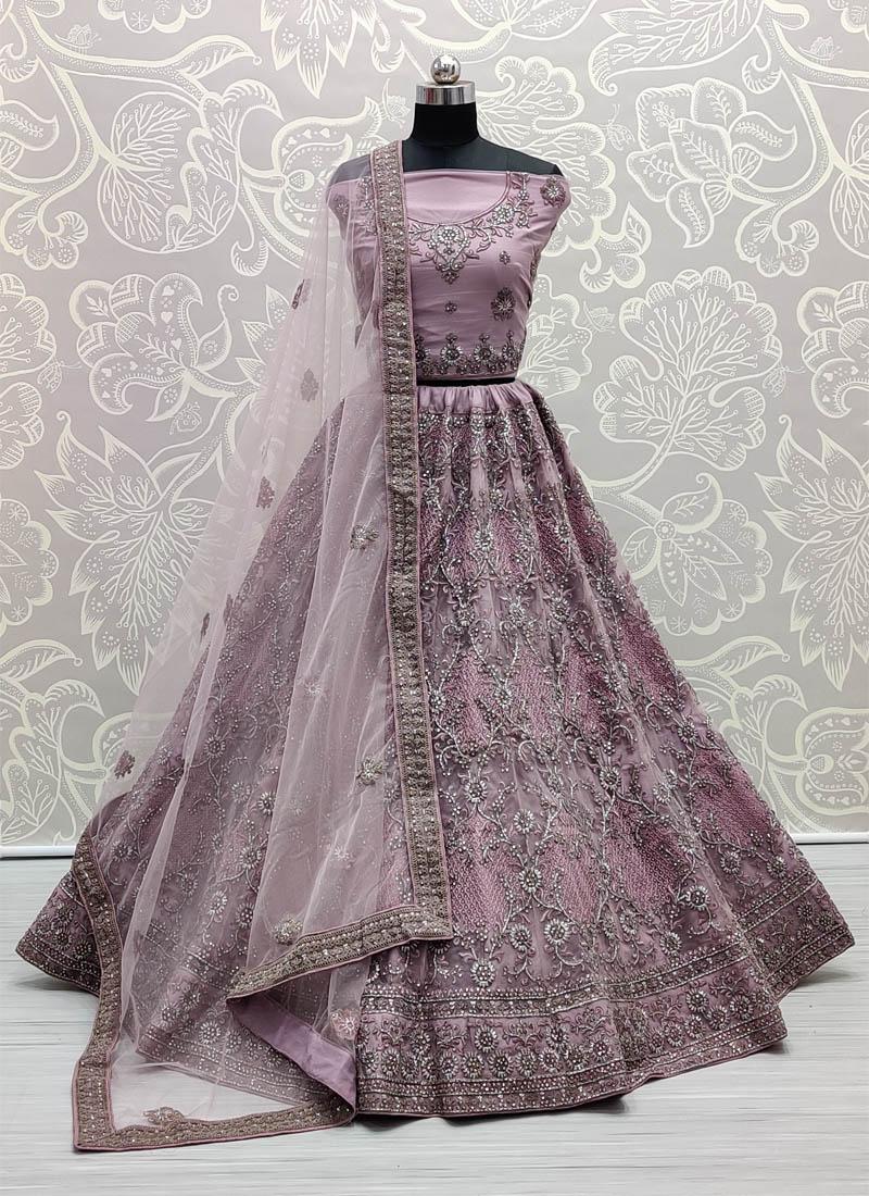 Astonishing Violet Corded Embroidery On Net Designer Lehenga Choli