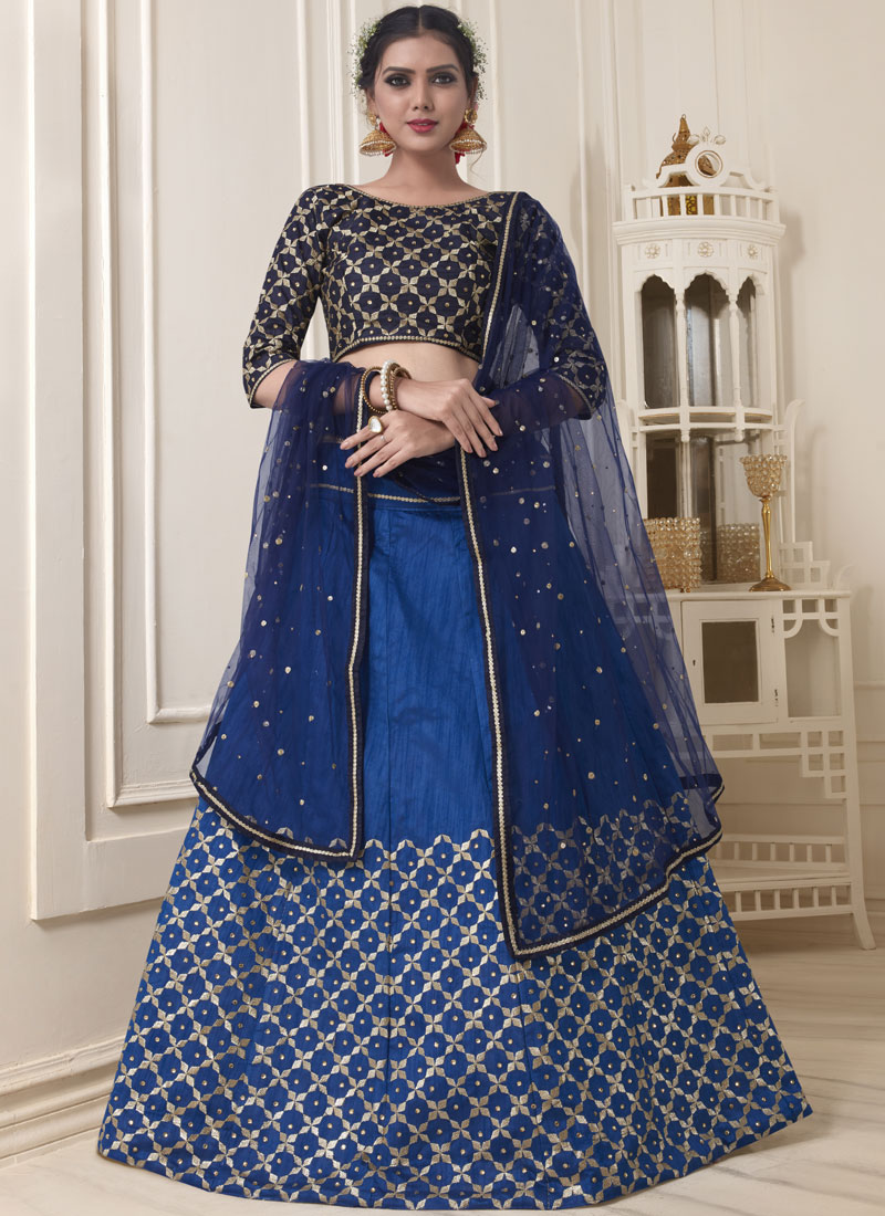 Astounding Embroidered Blue Banglori Silk Lehenga Choli