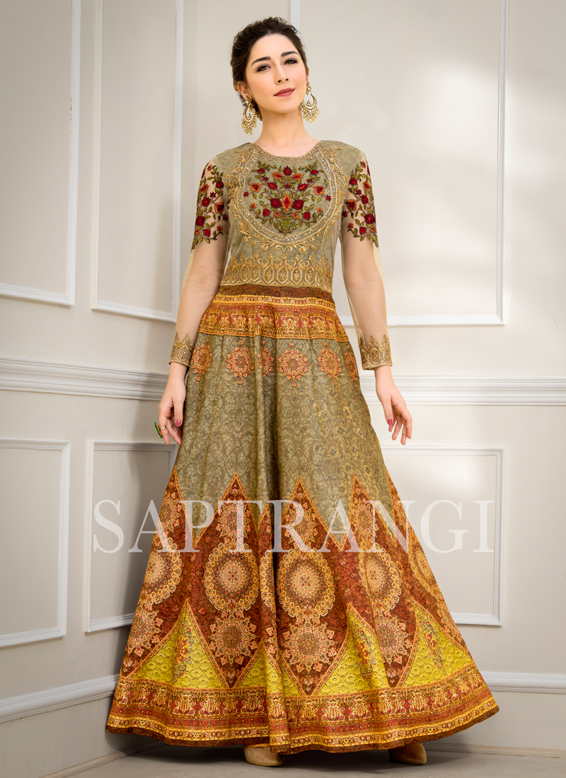 Astounding Multi Colour Resham Designer Gown