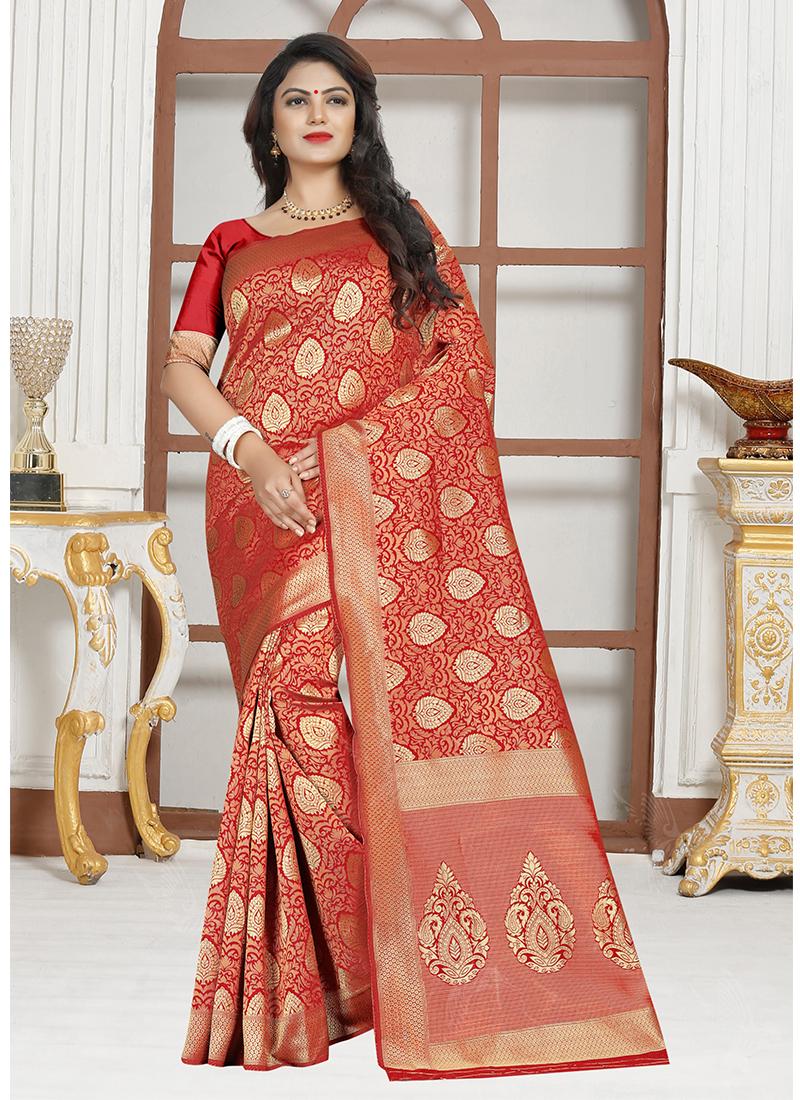 Astounding Red Designer Traditional Saree