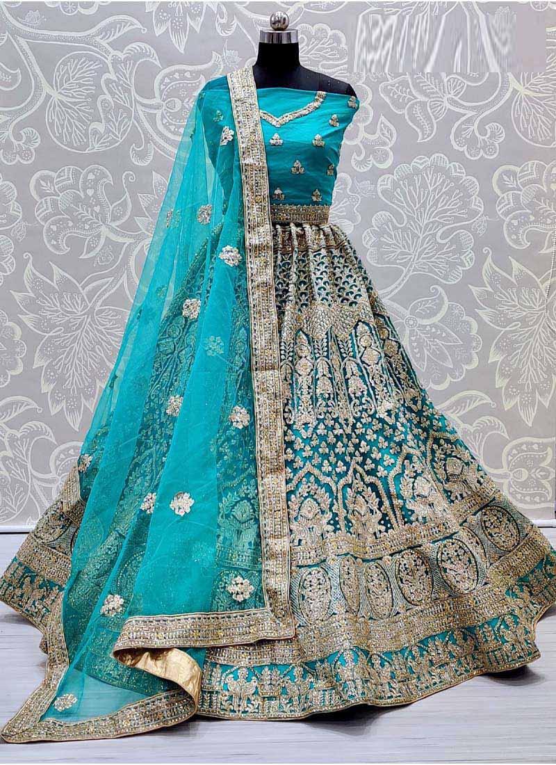 Attractive Aqua Blue Heavy Net Dori Embroidered Designer Wedding Lehenga Choli