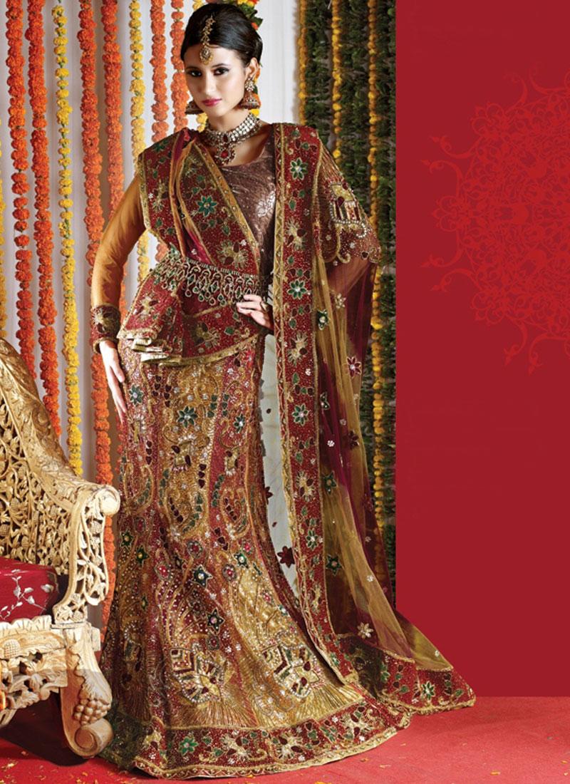 Attractive Hand Embroidered Multi Colour Bridal Lehenga Ch