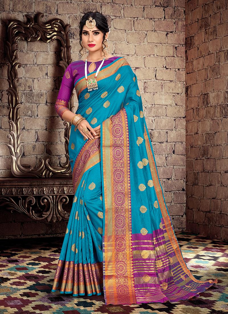 Auspicious Blue Weaving Traditional Designer Saree