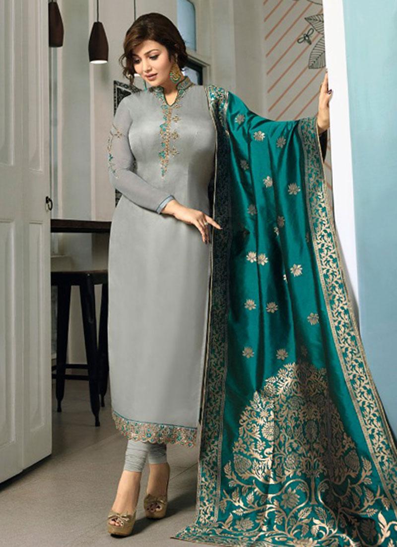 Ayesha Takia Satin Resham Churidar Designer Suit
