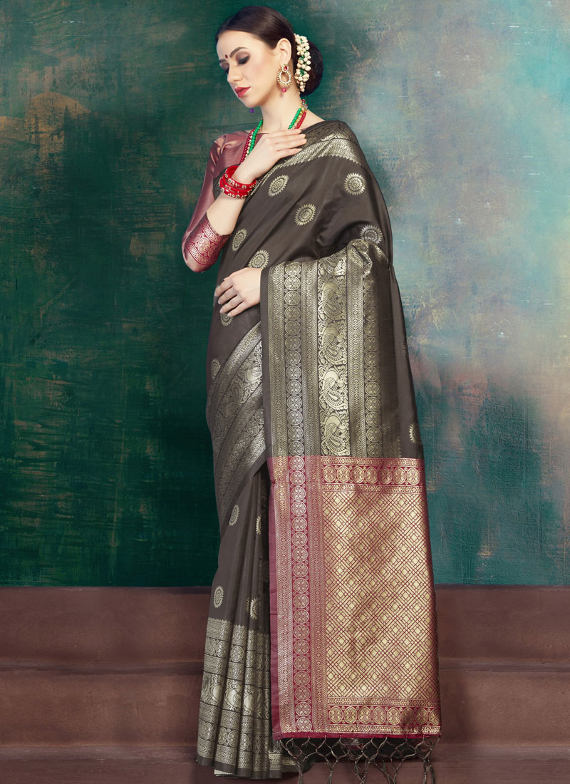 4fb23df3fe2 Banarasi Silk Brown Abstract Print Designer Saree