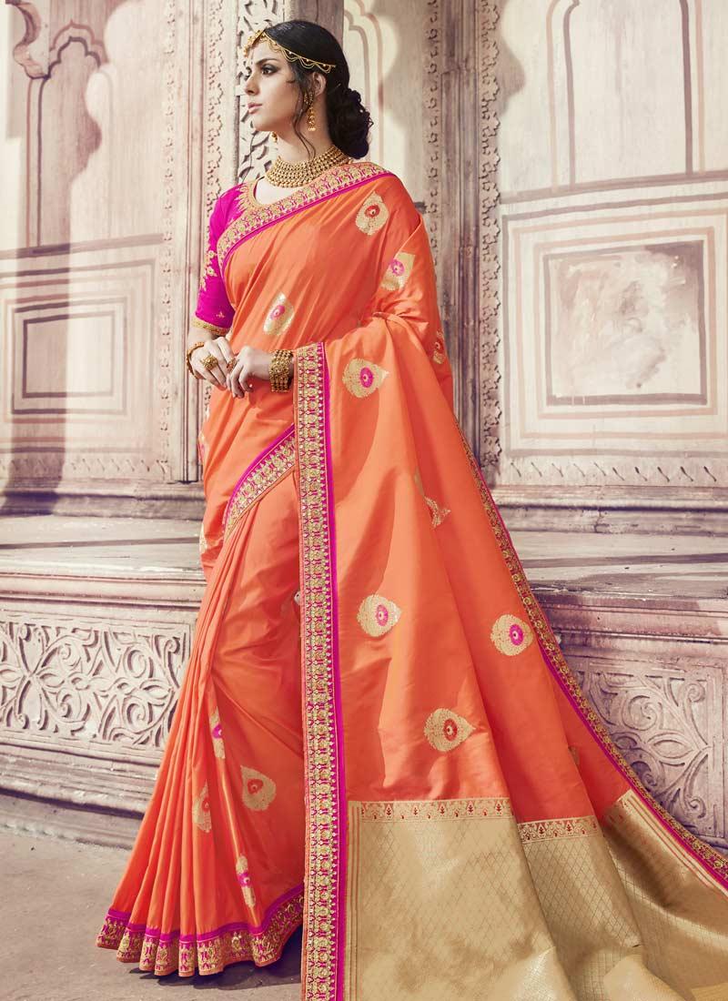 Banarasi Silk Orange Classic Saree