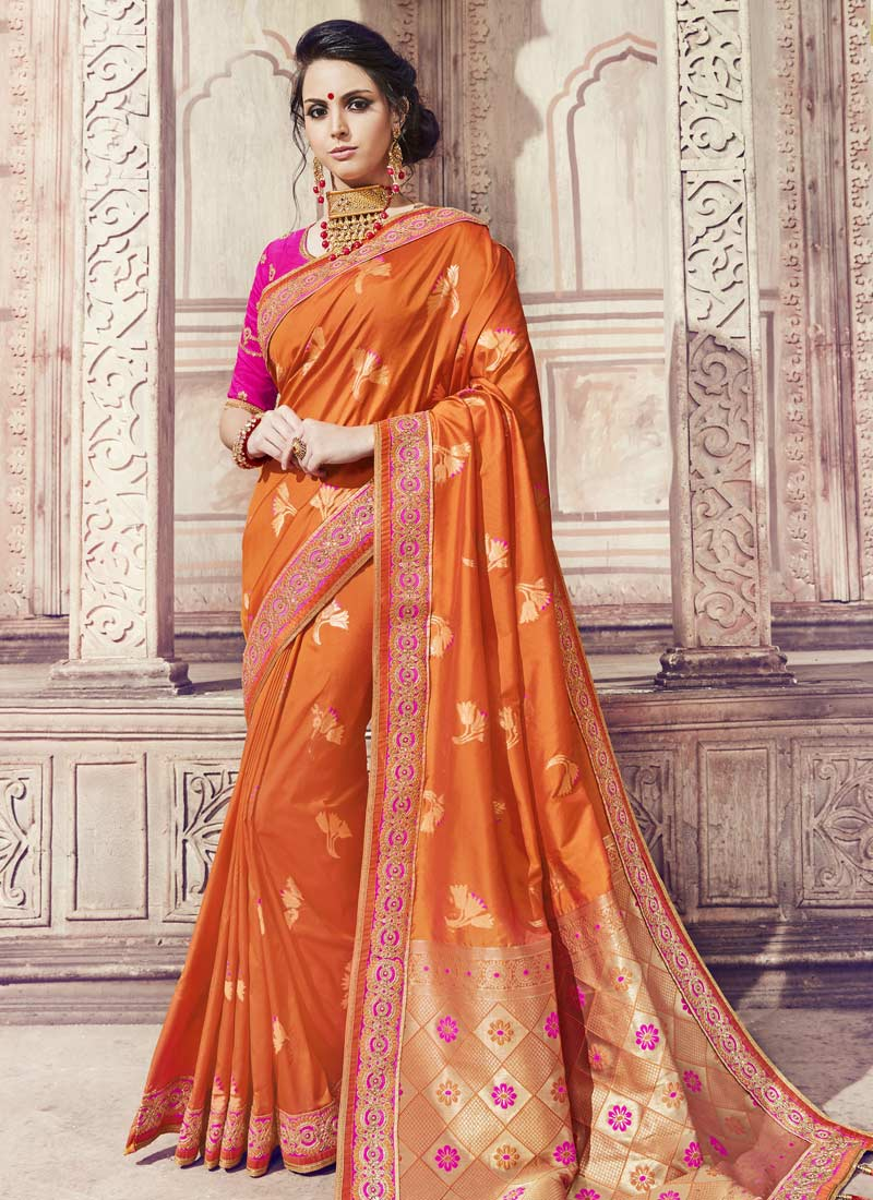 Banarasi Silk Thread Orange Designer Saree