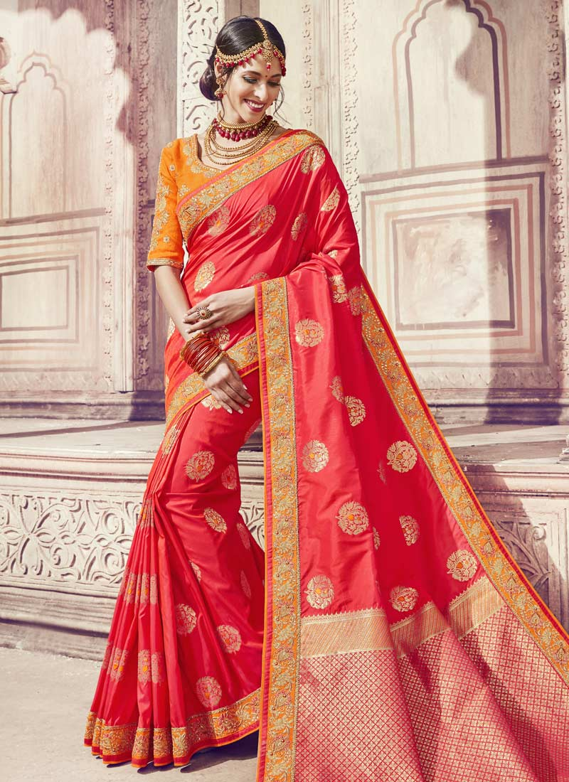 Banarasi Silk Thread Red Classic Saree