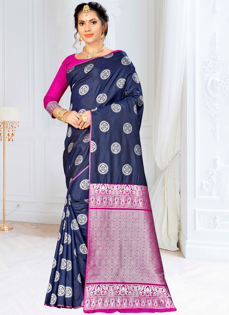 Banarasi Silk Weaving Traditional Saree in Navy Blue