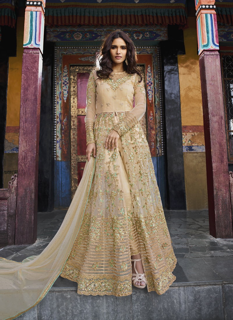 Banglori Silk Threadwork Cream Designer Salwar Suit
