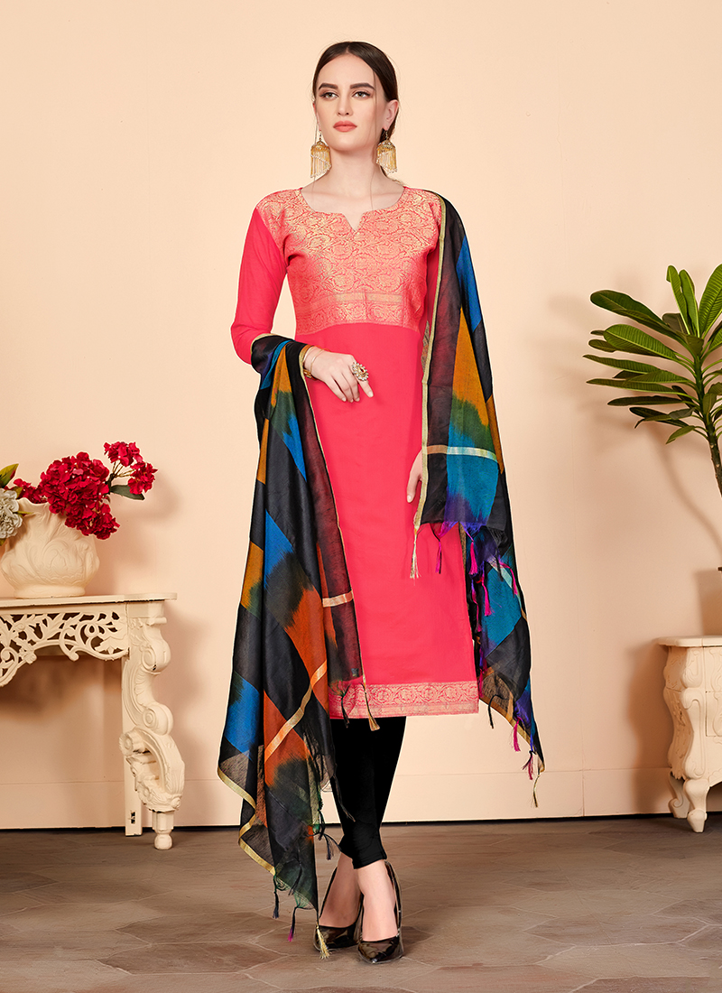Beauteous Abstract Print Pink Churidar Suit
