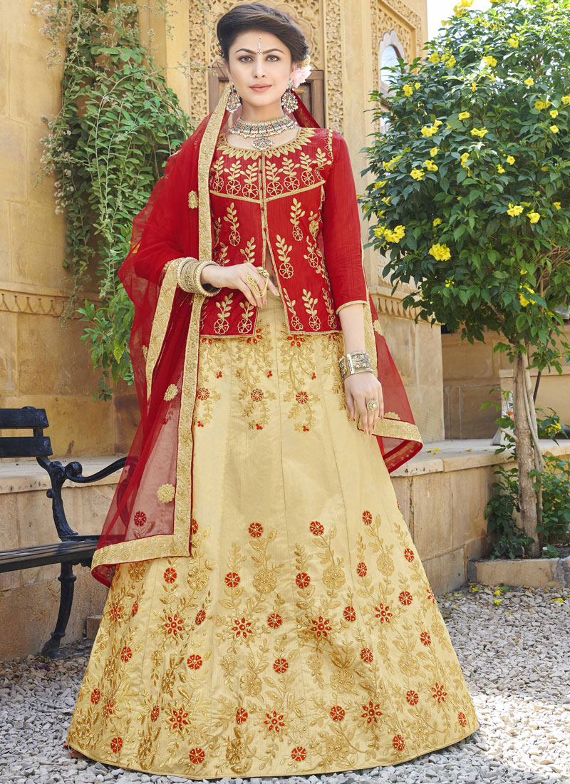 Beauteous Art Silk Zari Beige Trendy Lehenga Choli