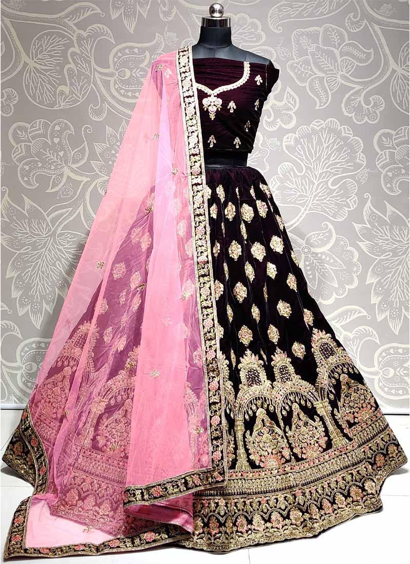 Beauteous Thread & Dori Work Engagement Wear On Lehenga Choli In Purple