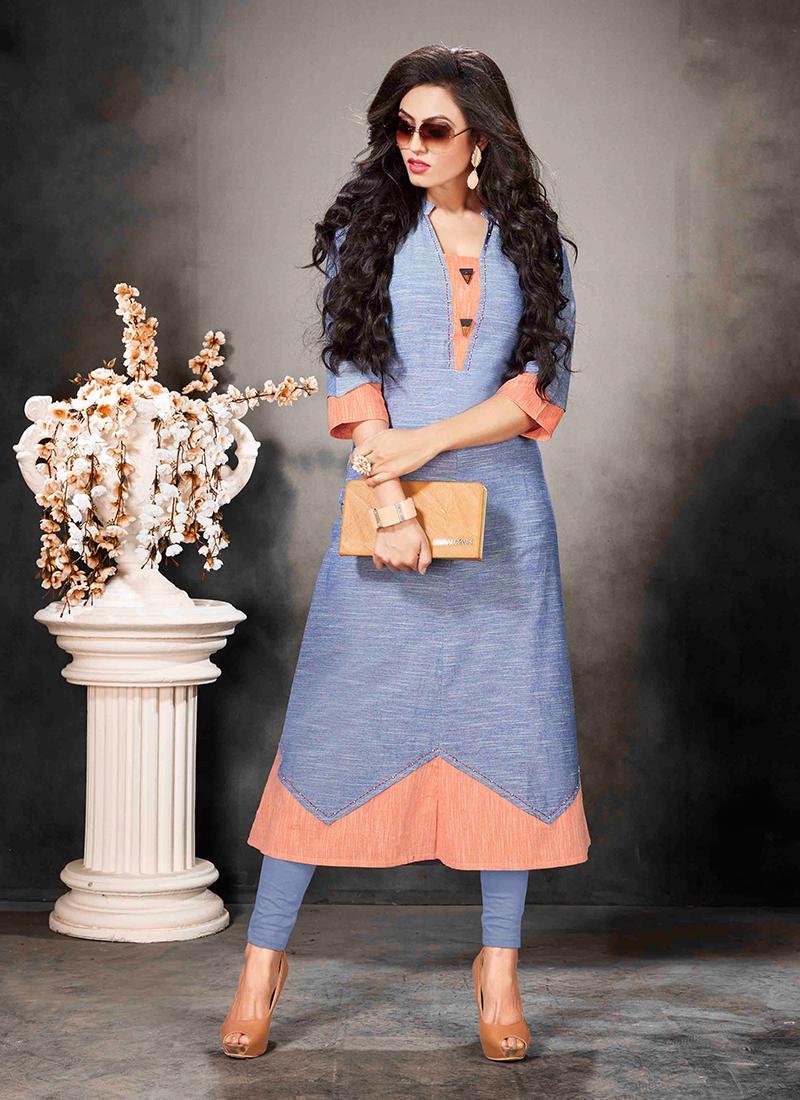 Beautiful Blue Fancy Party Wear Kurti