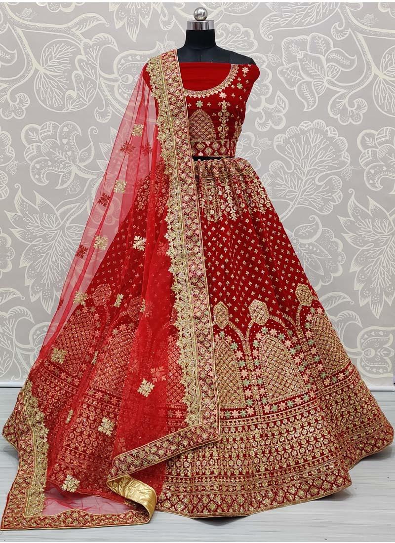 Beautiful Red Design on Velvet Dori and Zari Embroidery Work Lehenga Choli