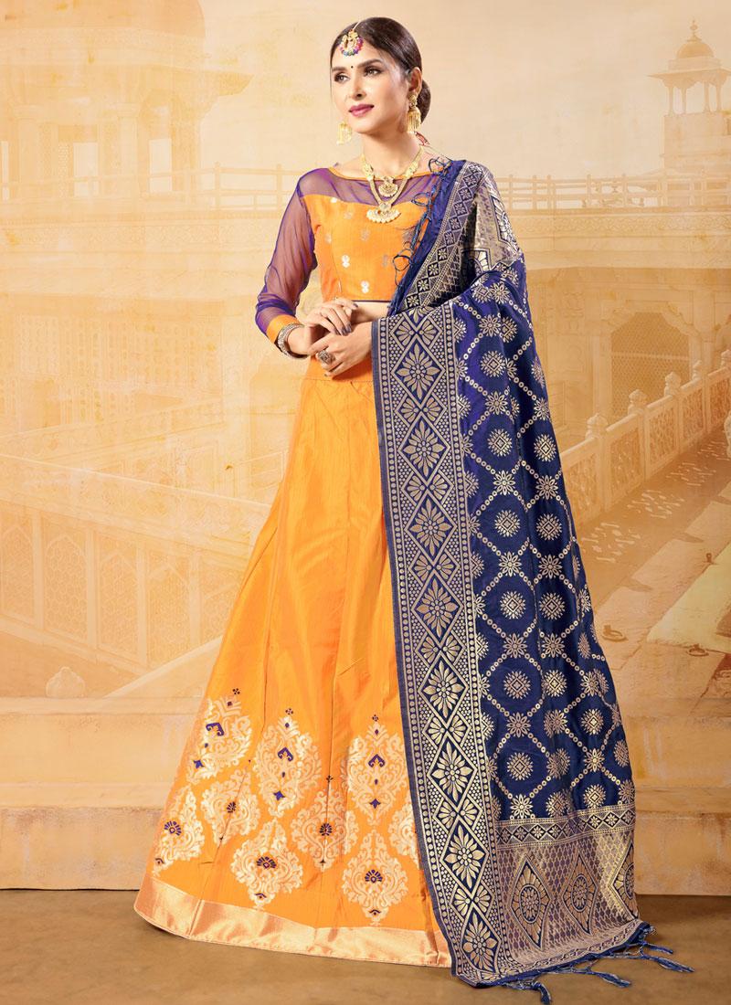 Beckoning Banarasi Silk Yellow Weaving Trendy Lehenga Choli