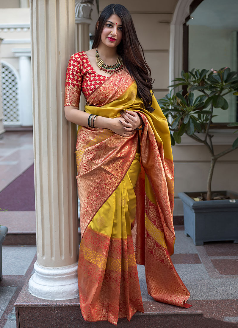 Beckoning Mustard Traditional Saree