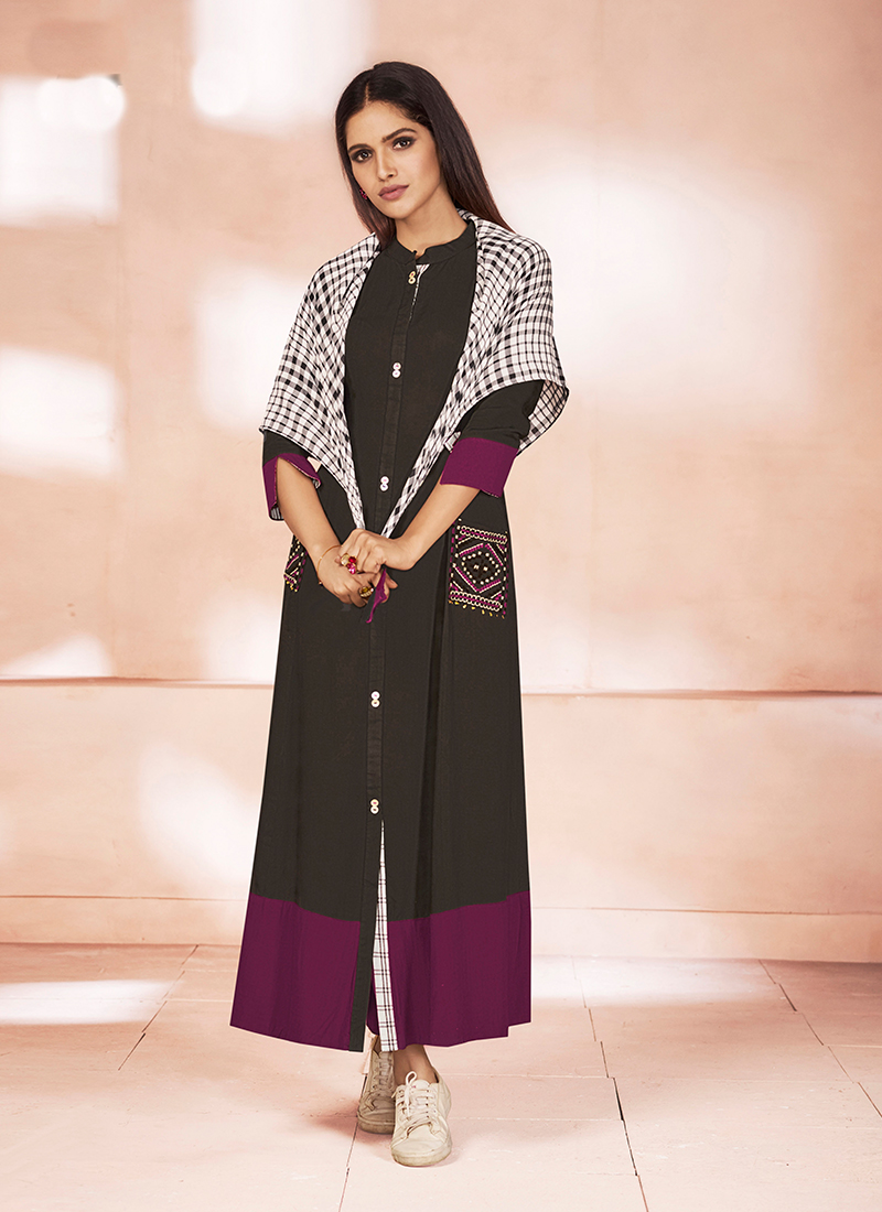Beckoning Print Black and Wine Party Wear Kurti