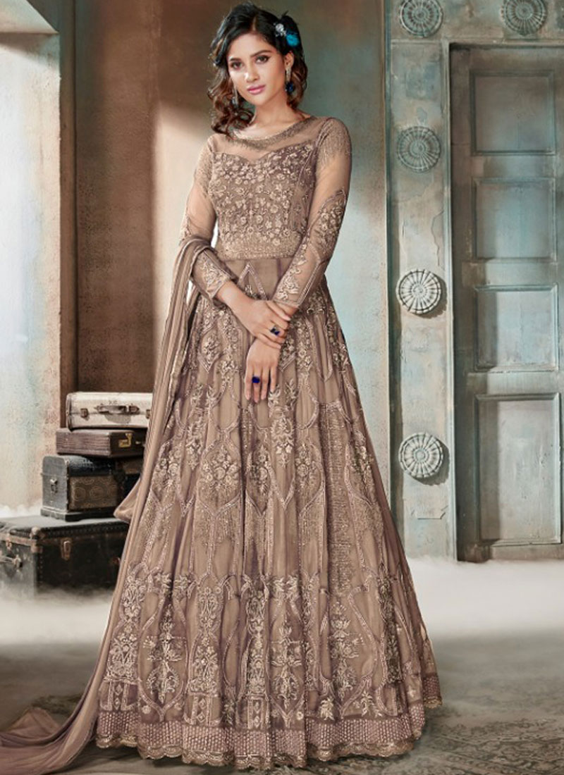 Bedazzling Embroidered Net Beige Anarkali Suit