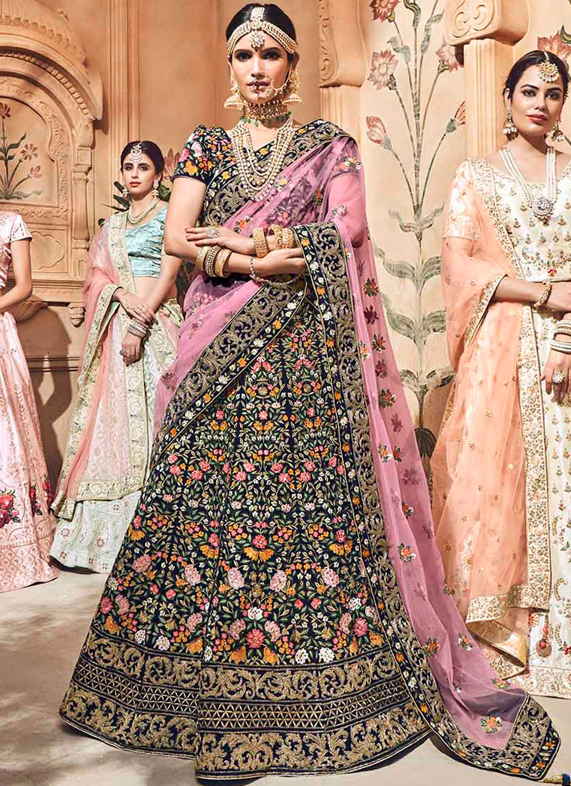 Bedazzling Resham Fancy Fabric Grey Lehenga Choli