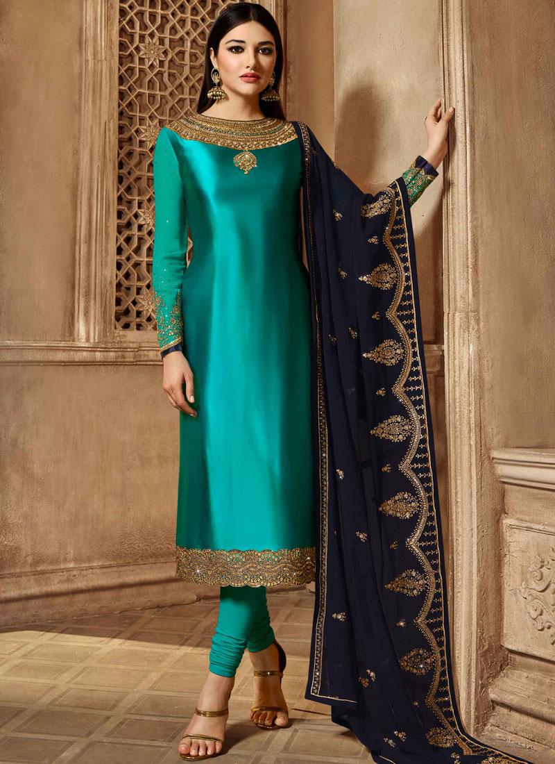 Bedazzling Resham Sangeet Churidar Salwar Suit