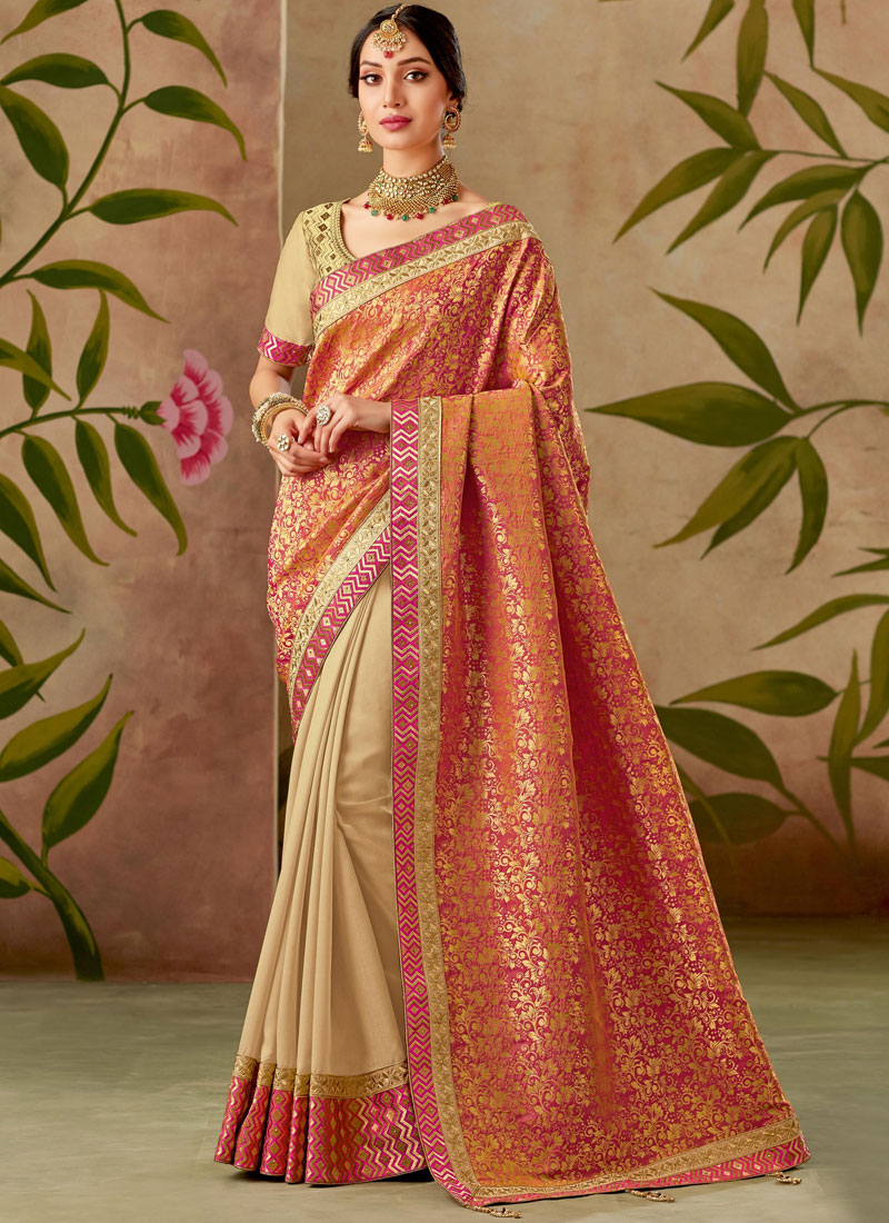 Beige and Peach Patch Border Bridal Designer Half N Half Saree