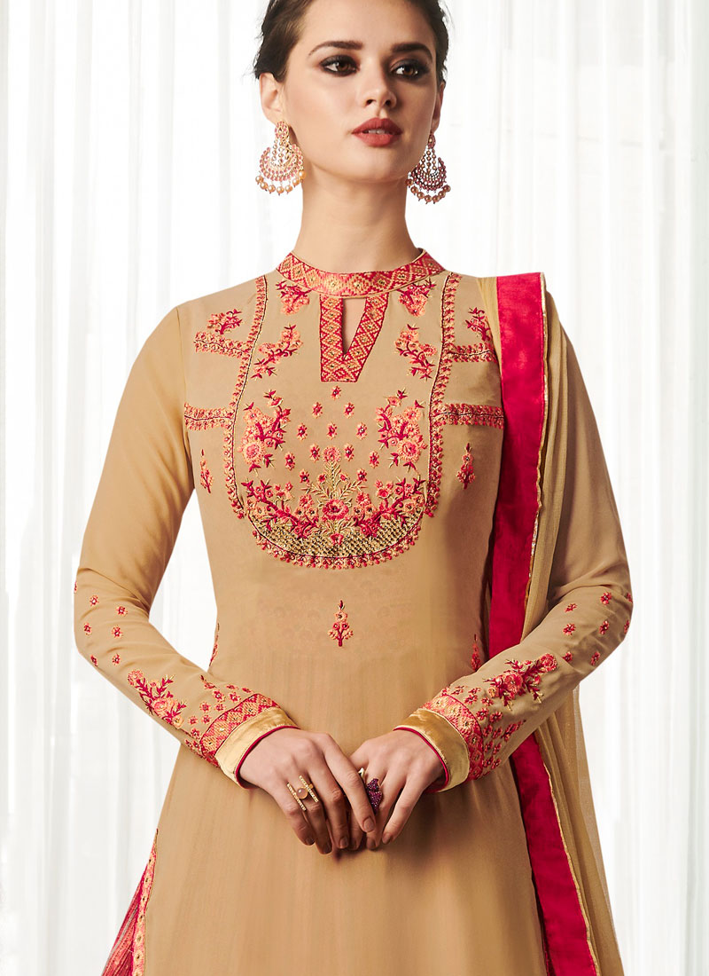 48cf4c6738 Beige and Pink Faux Georgette Long Choli Lehenga. Hover to zoom