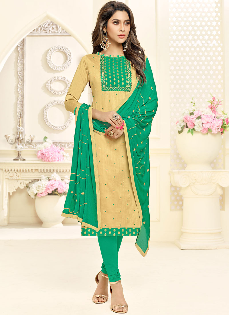 Beige Cotton Embroidered Churidar Suit