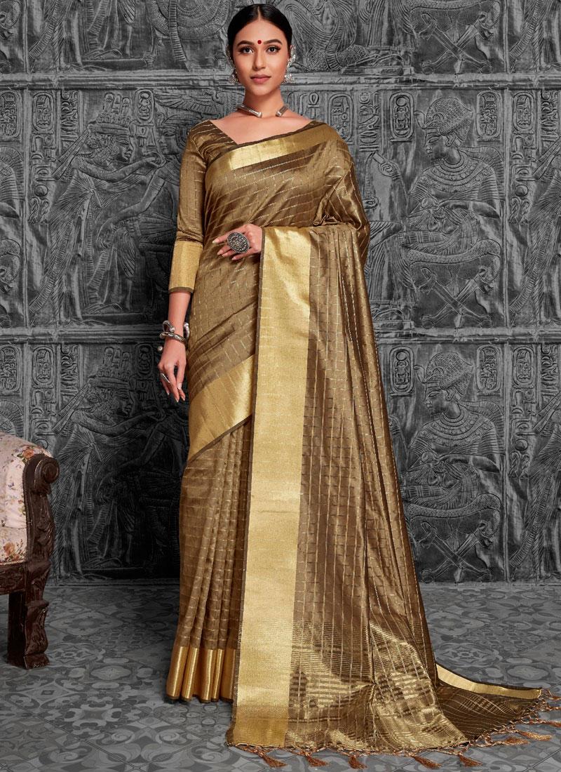 Beige Woven Art Silk Traditional Saree