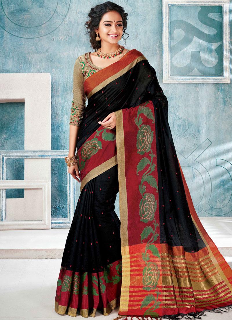 Black Embroidered Cotton Silk Traditional Saree