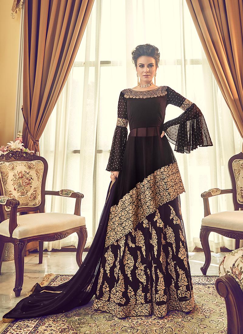 Black Embroidered Designer Lehenga Choli