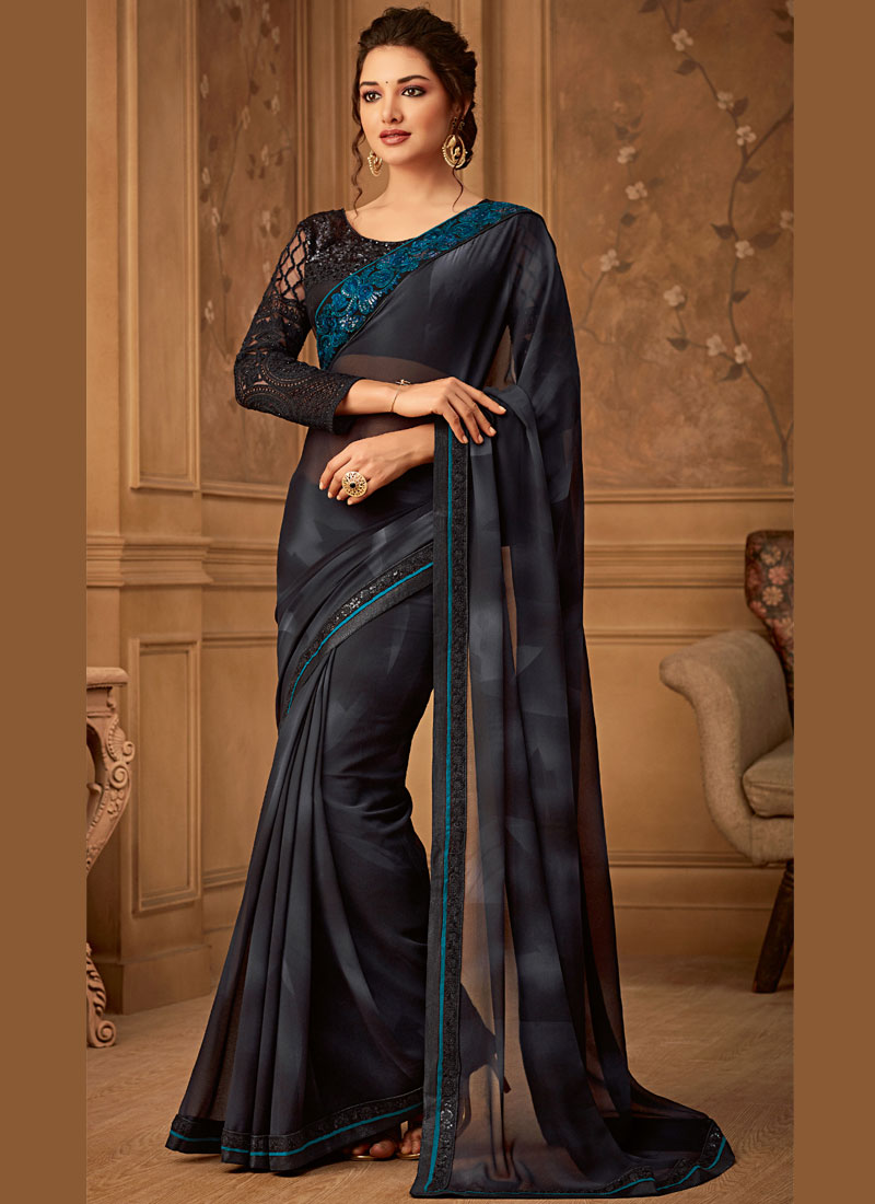 Black Embroidered Trendy Saree
