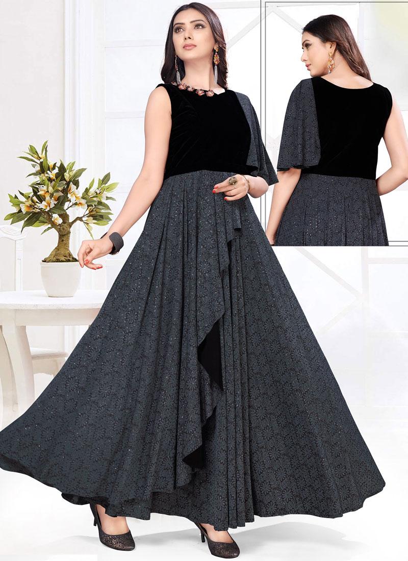 Black Fancy Festival Floor Length Gown