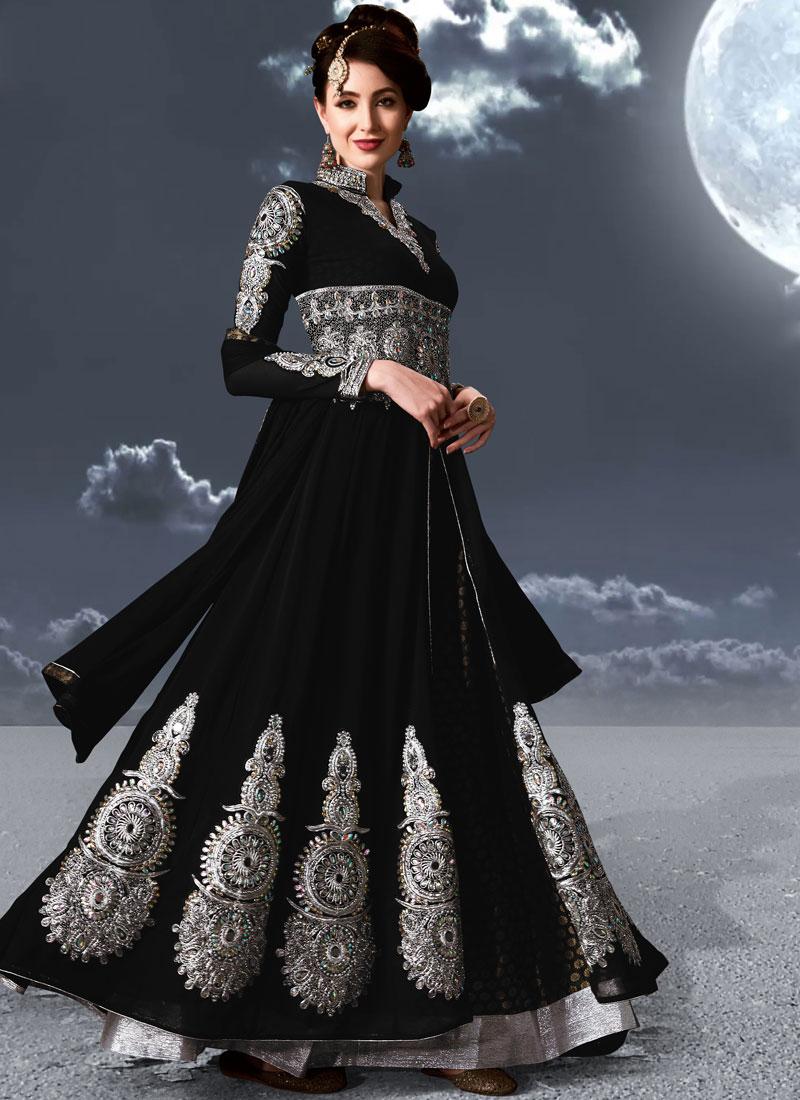 Black Faux Georgette Resham Floor Length Anarkali Suit
