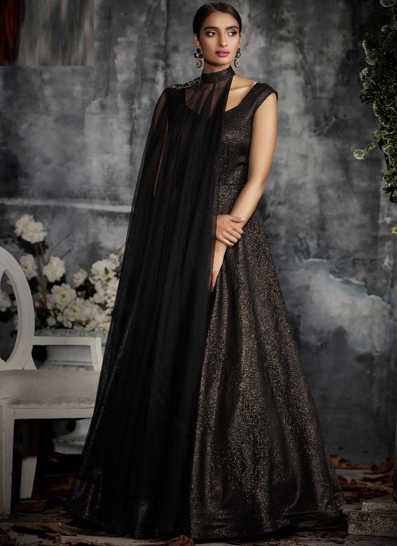 Black Jacquard Patchwork Designer Gown