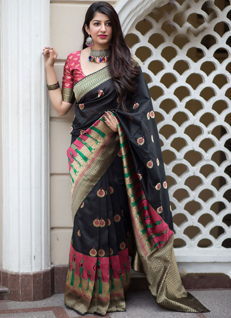 Black Party Art Silk Traditional Saree