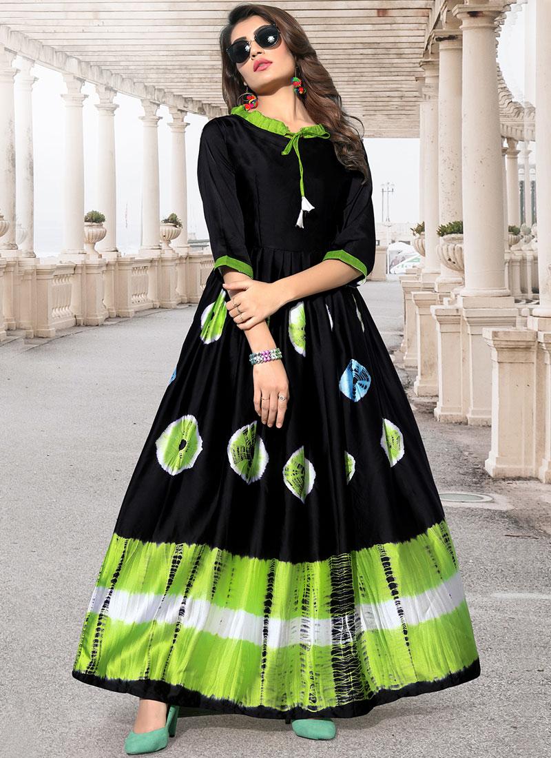 Black Print Satin Silk Party Wear Kurti