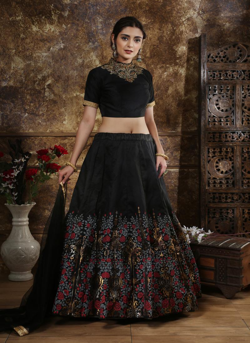 Black Silk Embroidered Circular Lehenga