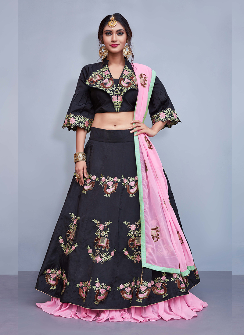 Black Tafeta Silk Embroidered Readymade Lehenga Choli