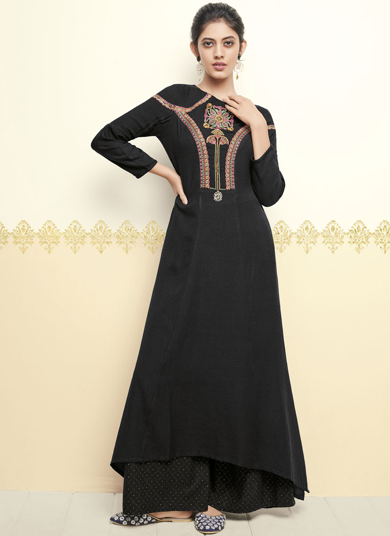 Black Thread Work Party Wear Kurti