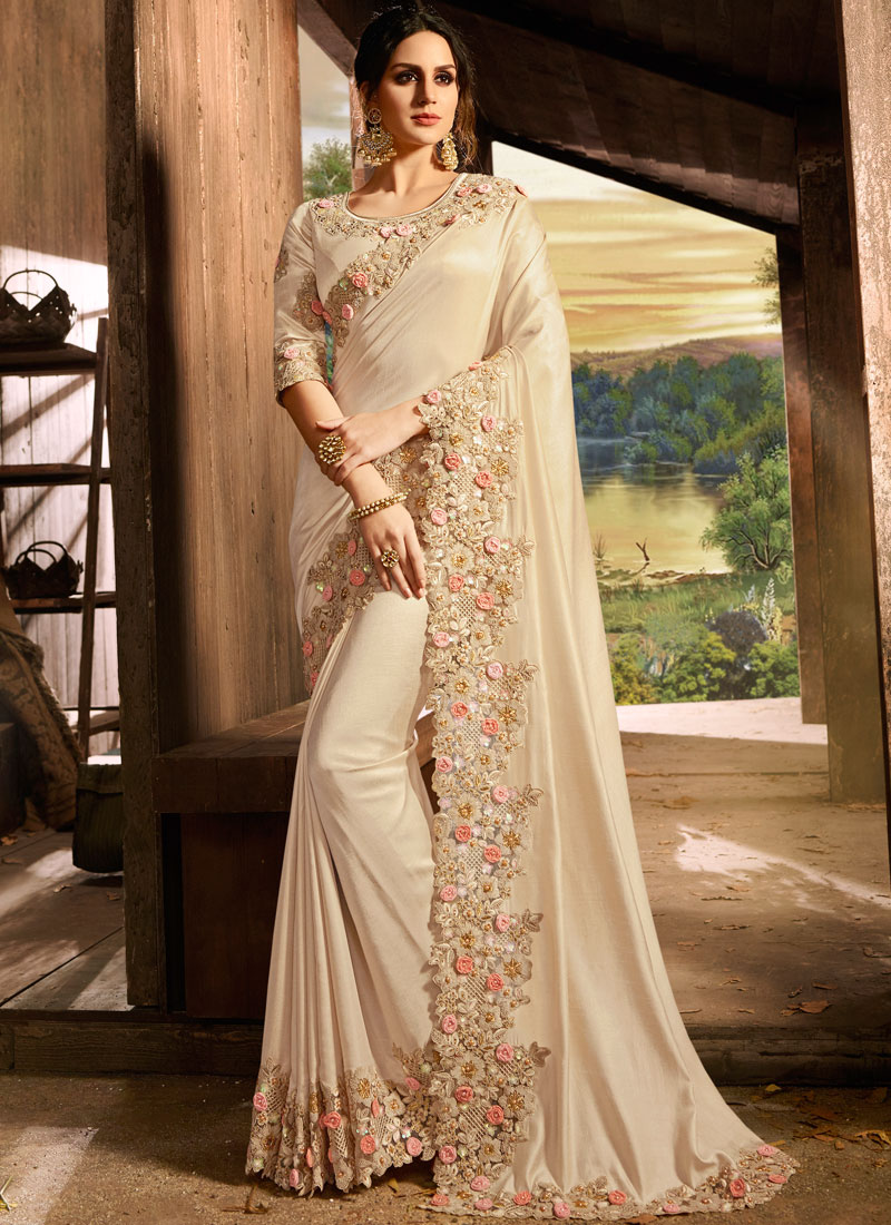 Blooming Embroidered Art Silk Designer Saree