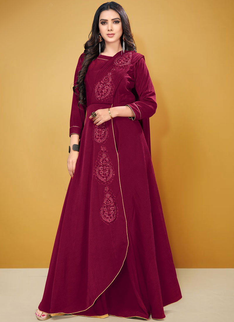 Blooming Fancy Fabric Fancy Magenta Floor Length Gown